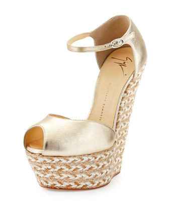 Metallic Leather Peep-Toe Wedge, Platinum