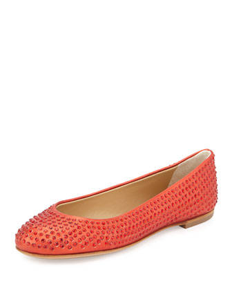 Crystal-Embellished Ballet Flat, Red