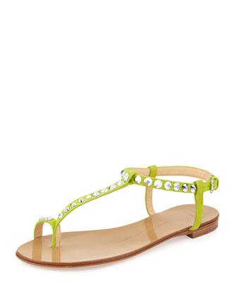 Rhinestone-Embellished Flat Sandal, Lime