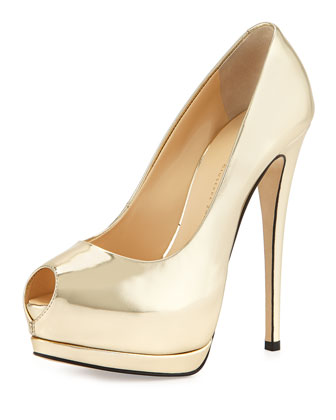 Metallic Peep-Toe Platform Pump, Platinum