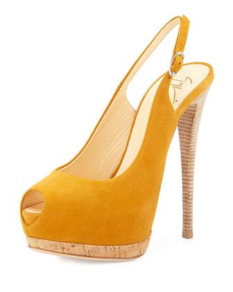 Sharon Suede Peep-Toe Slingback Sandal, Mustard