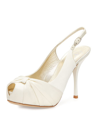 Monro Peep-Toe Slingback Sandal w/ Bow, Ivory