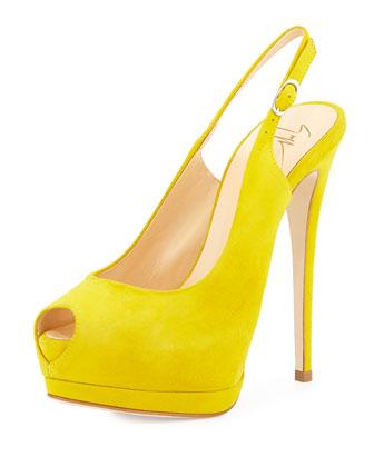 Peep-Toe Slingback Pump, Yellow
