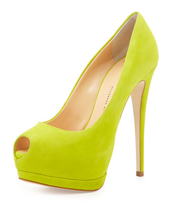 Suede Peep-Toe High-Heel Pump, Lime
