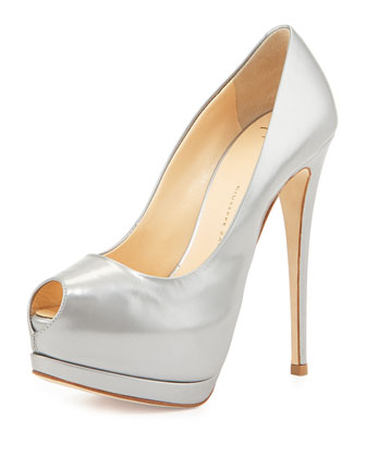 Metallic Leather Platform Pump, Silver