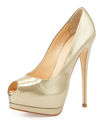 Metallic Leather Platform Pump, Platinum