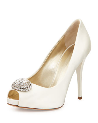 Pix Crystal Applique Peep-Toe Pump, Ivory