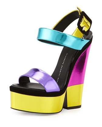 Metallic Leather High-Heel Sandal, Purple