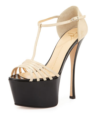 Strappy Leather Platform Sandal, Beige/Black