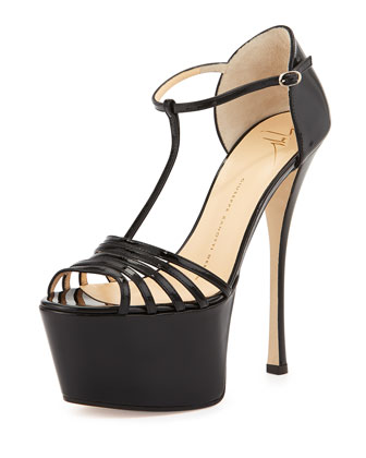 Strappy Leather Platform Sandal, Black