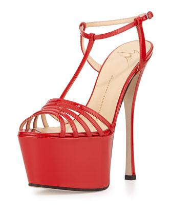 Patent T-Strap Platform Sandal, Red