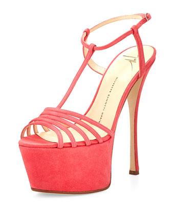 Strappy Platform T-Strap Sandal, Pink