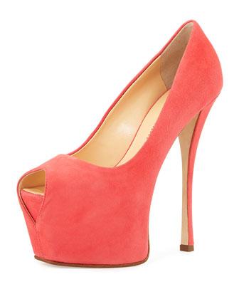 Liza Suede Peep-Toe Platform Pump, Dark Pink
