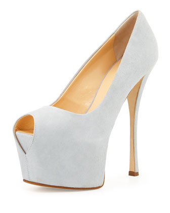 Peep-Toe Platform Pump, Ice Gray