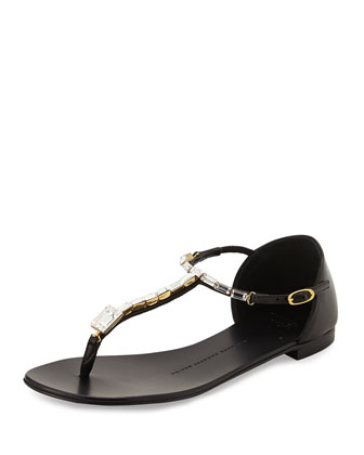 Rock 10 Crystal T-Strap Thong Sandal, Black
