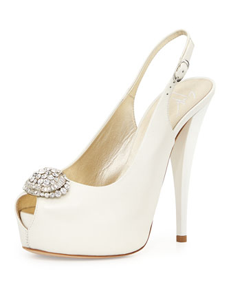 Leather Crystal-Toe Slingback Sandal, Ice Gray