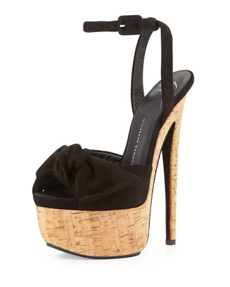 Denny Suede High-Heel Sandal w/ Bow, Black