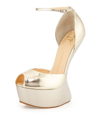 Sculpted Heel-Less Wedge, Platinum