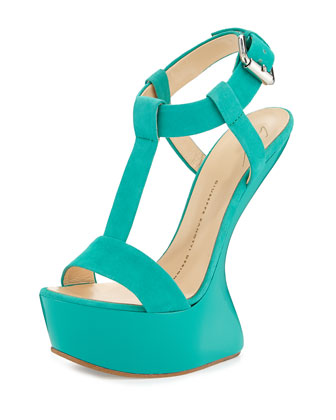 Suede Sculpted Wedge Sandal, Light Green