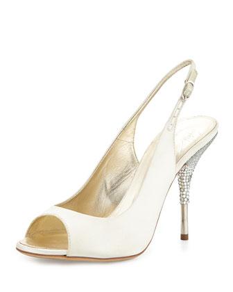 Satin Crystal-Heel Slingback Sandal, Ivory