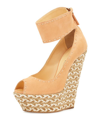 Cumber Suede Braided Peep-Toe Wedge, Salmon