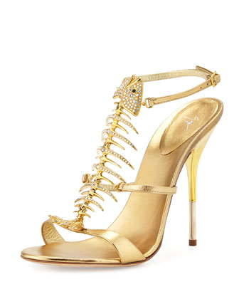 Crystal Fishbone Metallic Sandal, Gold