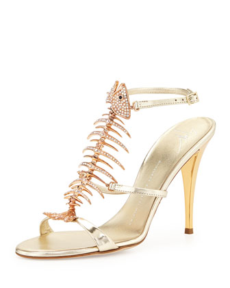 Crystal Fishbone Metallic Sandal, Platinum