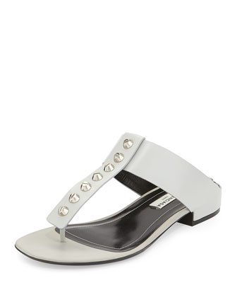 Studded T-Strap Slide, Gray
