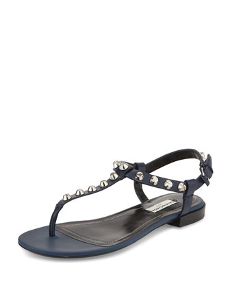 Studded Leather T-Strap Sandal, Navy