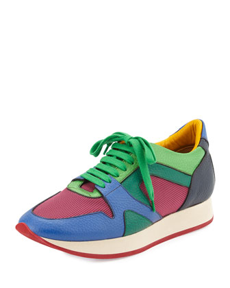 Runway Leather Sneaker, Bright