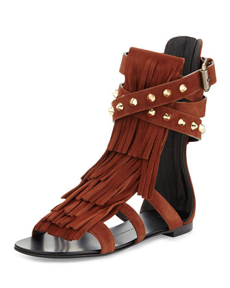 Suede Fringe Flat Sandal, Dark Brown