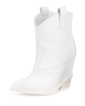 Leather Hidden-Wedge Ankle Boot, White