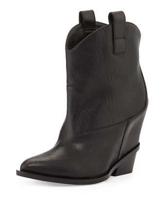Leather Hidden-Wedge Ankle Boot, Black