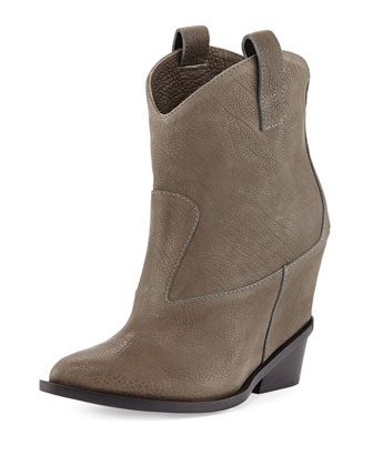 Leather Hidden-Wedge Ankle Boot, Light Green