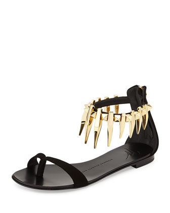 Rock 10 Spiked Suede Flat Sandal, Black