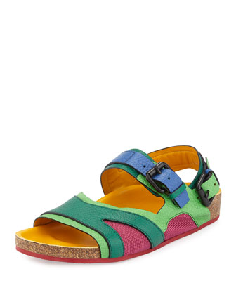 Runway Leather Flat Sandal, Green/Tulip