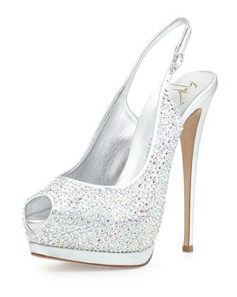 Crystal Slingback Platform Sandal, Silver