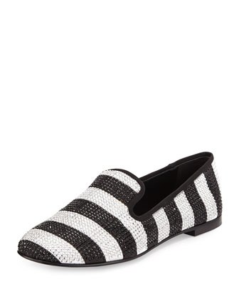 Stripe Strass Smoking Loafer, White/Black