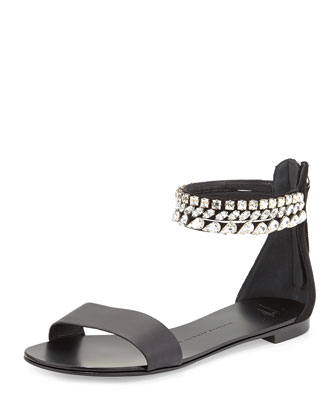 Roll 10 Crystal Triple-Strap Flat Sandal, Black