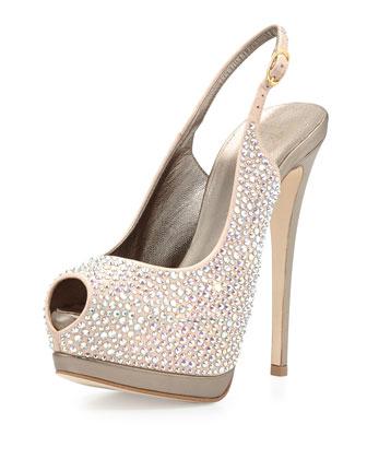 Crystal Slingback Platform Sandal