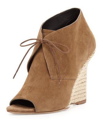 Lace-Up Chukka Espadrille Wedge, Walnut Brown