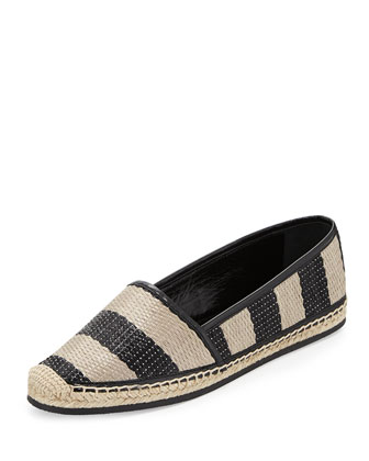 Striped Raffia Espadrille Flat, Black/Honey