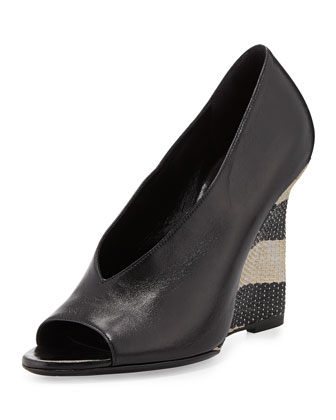 Peep-Toe Striped-Wedge Pump, Black