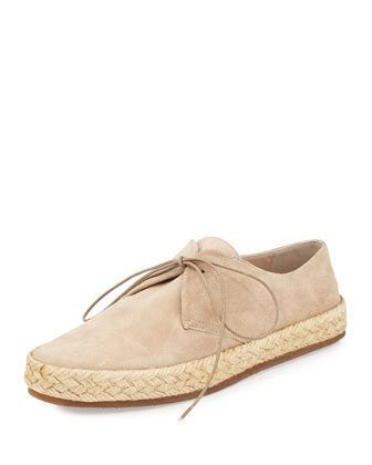 Lace-Up Espadrille Flat, Light Nude