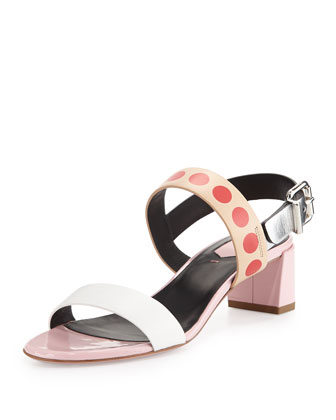 Emma Multicolor Leather Sandal, Pink