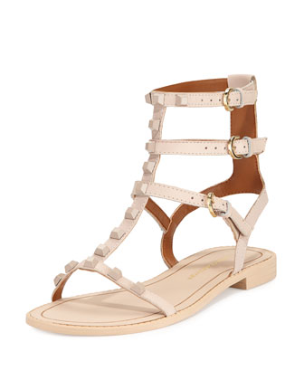 Georgina Studded Gladiator Sandal, Blush