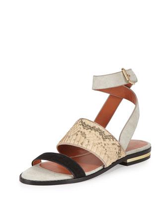 Sparta Snake-Embossed Flat Sandal, Blush/Black