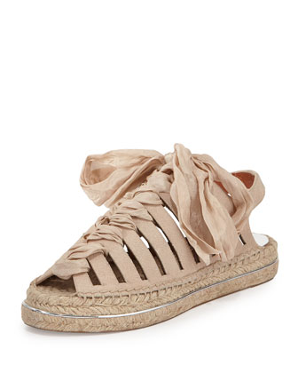 Gemma Leather Espadrille Sandal, Light Pink