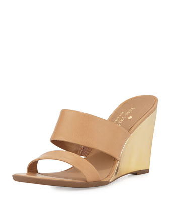 abilene two-band wedge sandal, natural