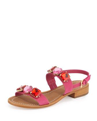 bacau jewel-embellished sandal, deep pink
